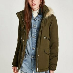 Zara TRF Water Repellent Quilted Parka